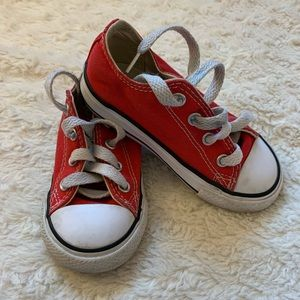 Toddler red low top Converse